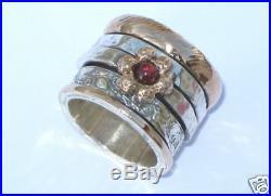 Gold 14K Garnet Flower Wedding Ring Solid Silver 925