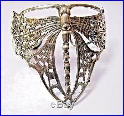 Gorgeous Vintage Solid Silver Hallmarked Art Nouveau Butterfly Bracelet 34g