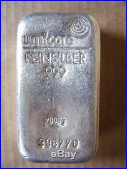 Guaranteed Genuine Umicore 1kg Solid Silver. 999 bar