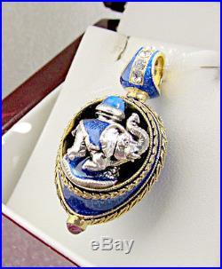 HANDMADE EGG PENDANT ENAMELED SOLID STERLING SILVER 925 & 24K GOLD with ELEPHANT
