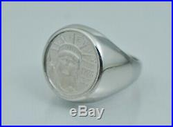 HEAVY SOLID Platinum US Eagle Ring. 999 Pure Coin 1998 Signet Liberty American
