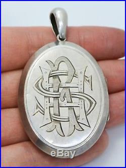 HUGE Antique SOLID SILVER Engraved IVY LEAVES & MONOGRAM Locket Pendant
