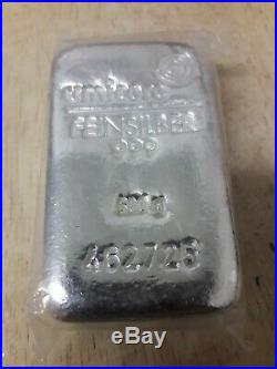 Half kilo (500g) Umicore 999 Solid silver bullion bar sealed