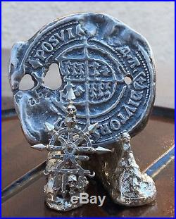 Hand Cast Fine Silver Goonies Doubloon And Solid Silver Skull Display