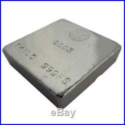 Hand Poured 1 Kilo Silver Bar Square. 999 Fine Silver ShinyBars