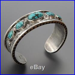 Handcrafted Sterling Silver American Turquoise Stamped Solid Cuff Bracelet