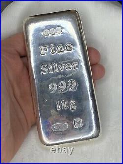 Heavy 1kg Solid Silver Bar 999 Pure Silver Bullion by CML Sheffield 1000g