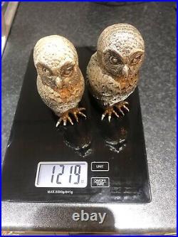 Heavy Solid Silver Pels Owl Figures Pair 1.2kg! 1998 Bullion Ingot Investment