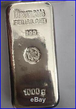 Heraeus Silver 1kg Bar 999 Solid Silver