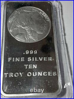 High Grade Silver Bullion, 10 oz Silver Bar, Solid Silver Bar, BUFFALO ON THE BACK