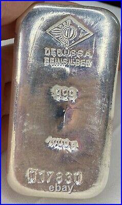 Huge, Solid Silver 1kg Bullion Ingot Degussa 1000g Investment. 999 Silver