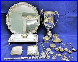 Huge job lot antique vintage solid silver re-use resell 1510gram 1.5kilo salver