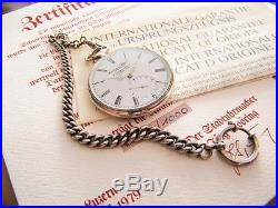 IWC Solid Silver Prize Pocket watch Schützenuhr with orig Papers and Fob 1979