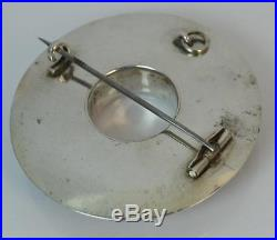 Incredible Victorian Solid Silver & Hardstone Agate Circular Disk Brooch