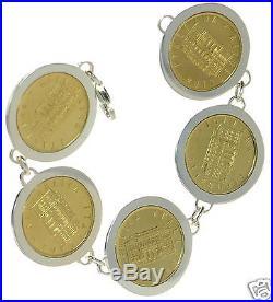 Italian Lira Coin Set in Solid 925 Sterling Silver Bracelet 8 L