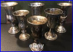 Jewish Sterling Silver Goblets Cups Lot of (6) Solid Silver 330 grams