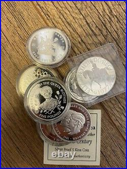 Joblot Of Solid Silver Coins SILVER COMMEMORATIVE COIN Queen, British