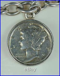 Joseph Esposito Solid 925 Sterling Silver Coin Charm Bracelet 8L