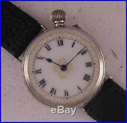 Just Serviced Lovely 110-Years-Old Swiss SOLID SILVER FANCY Wrist Watch MINT
