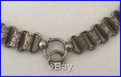 Large Antique Victorian Solid Silver Engraved Collar Book Chain Necklace