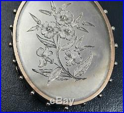 LARGE Antique SOLID SILVER & ROSE GOLD Unusual Victorian FLOWERS Photo LOCKET