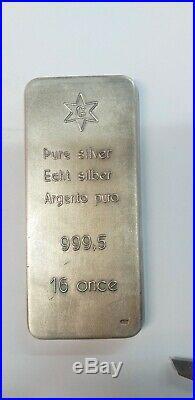 LINGOTTO ARGENTO 999.5 PURO 16 once FINE SOLID SILVER 0Z 16