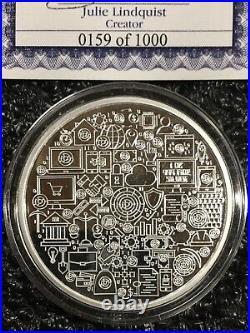 LITECOIN CRYPTO ICON 1 oz 999 Solid Silver Proof Colorized Coin COA 0159 of 1000