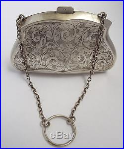 LOVELY ENGLISH ANTIQUE 1918 SOLID STERLING SILVER LADIES HANDBAG PURSE