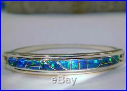 Ladies Black Blue Green fire OPAL Cuff Bracelet $445.00 Solid silver 925 Click