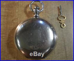 Large 1865 Waltham PS Bartlett Civil War Era Solid Silver Hunter Pocket Watch