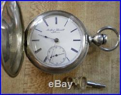 Large 1881 Rockford Solid Silver Hunting Keywind Pocket Watch Runs Good! 11j