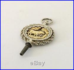 Large Antique Swiss solid silver and gold pocket watch key