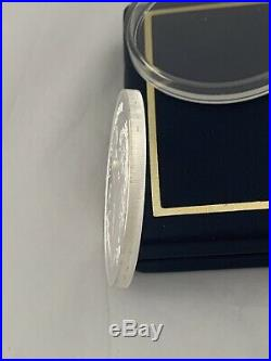 Large SOLID SILVER COIN 2002 5oz $50 Queen Mother With Pearl Sierra Leone Proof