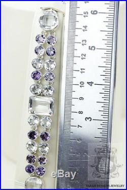Lavender Japanese Deep Purple Amethyst 925 Solid Silver Bracelet