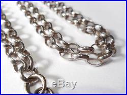Long Antique Solid Silver Belcher Link Chain