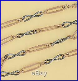 Long Rare Vintage Solid Silver Niello And Vermeil Gold Pocket Watch Chain Seal 8