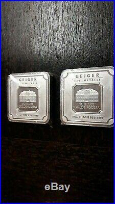 Lot of 2 10 oz silver bar Geiger Edelmetalle (Original square series)