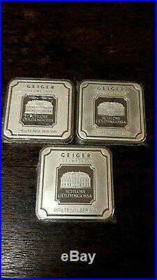 Lot of 3 250 gram silver bar Geiger Edelmetalle (Original square series)