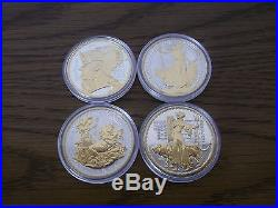 Lot of four solid silver Britannia Golden Silhouette proof coins, very rare