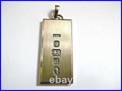 Lovely Rare Very Heavy Bullion Solid Silver Ingot Pendant 50g