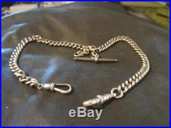 Lovely Victorian Rare Solid Silver Double Albert Chain, Fully Hallmarked, 46g