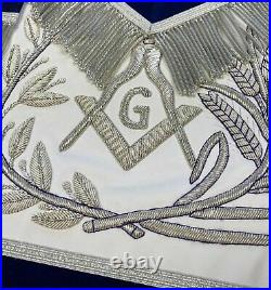 MASTER MASON Silver Embroidered Apron square compass with G Blue