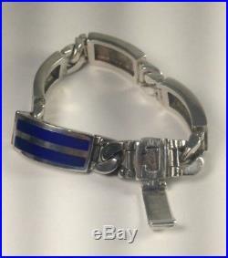 MENS Vintage ITALY Solid 800 Sterling Silver & Enamel Link Bracelet Sz 7 B64