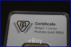 METALOR 1 oz ONE OUNCE 1oz 999.9 FINE solid GOLD BULLION BAR