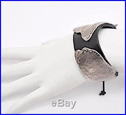 MICHELE LERNER Black Leather Hand Crafted Solid Silver Wings of Desire Cuff