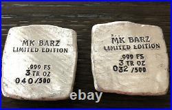 MK Barz Limited Edition Alien Invasion (UFO) 3 Troy Oz. 999 Silver Square Bar