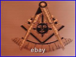 Masonic Past Master Silver Bullion Apron withSquare Pillars Satin Pocket NEW