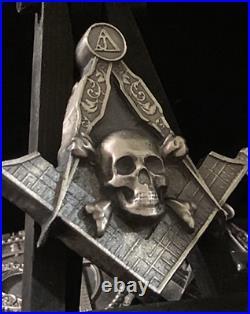 Masonic Square & Compass Skeleton 999 Silver 4.2oz Skull Unique OOAK Locker