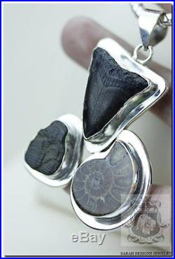 Megalodon Shark Teeth Tooth Trilobite Ammonite Fossil 925 Solid Silver Pendant