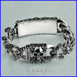 Men's Solid 925 Sterling Silver Bracelet Link Chain Skulls Jewelry 7.7 8.9